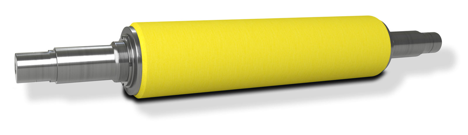 Perspective view of an NCCM<sup>®</sup> Premier Yellow nonwoven roll on a metal shaft