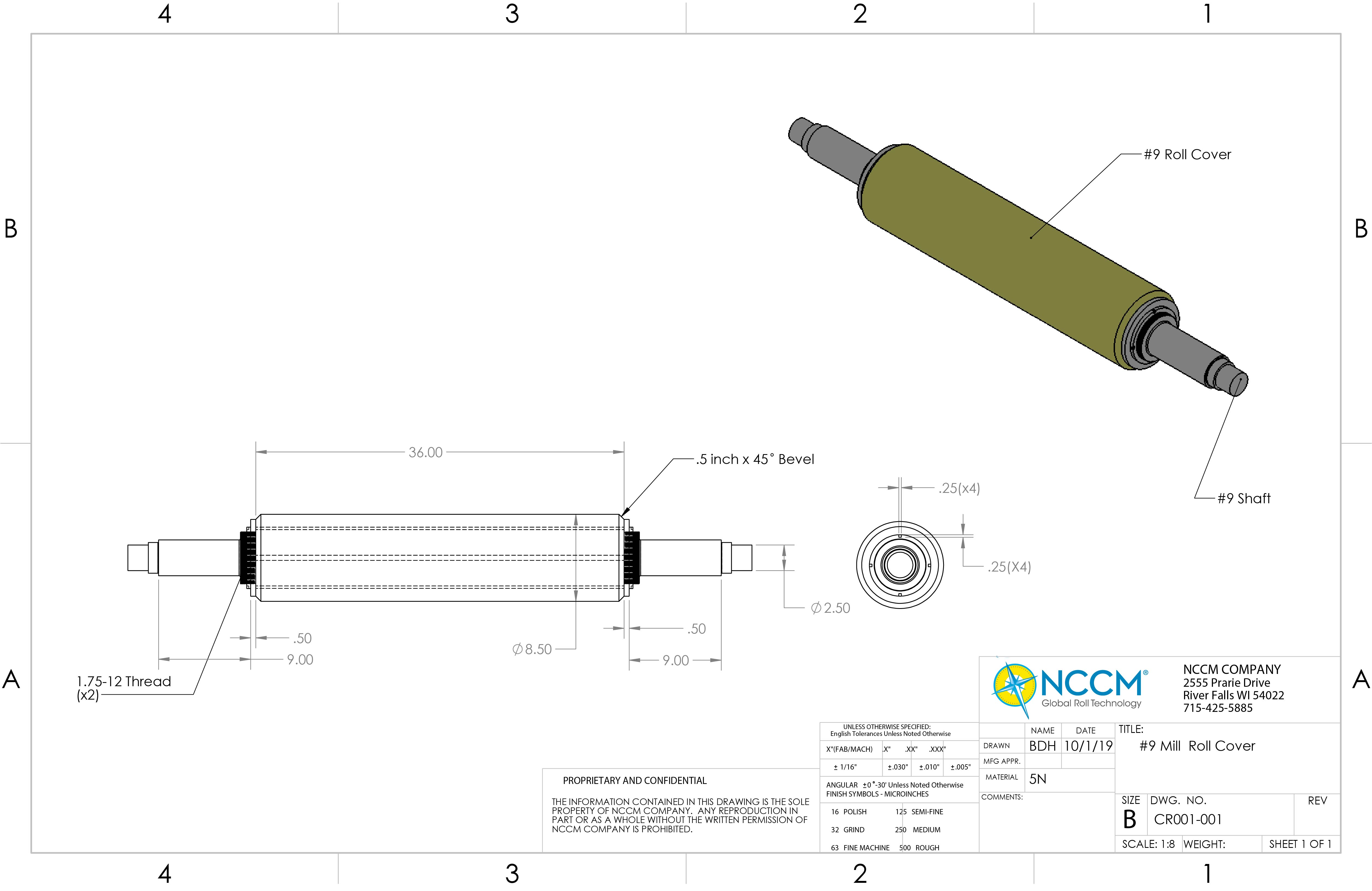 Technical CAD drawing of an NCCM<sup>®</sup> Premier Yellow roll and its shaft